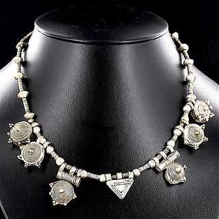 Necklace with 6 round and one triangle Telsum beads 02.03.505