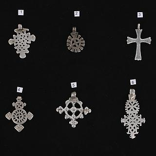 Set of six coptic silver cross pendants from Ethiopia 02.06.463