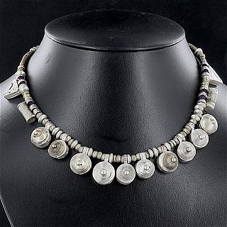 Ethiopian necklace with 10 round, 2 triangle and 2 cylindric Telsums 02.03.511