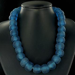 Large blue Ghaneen glass beads necklace 05.11.919