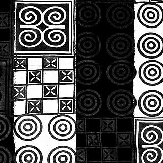 Large black & white Adinkra cloth 10.07.1148