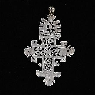 Nice old silver coptic cross pendant 02.06.457