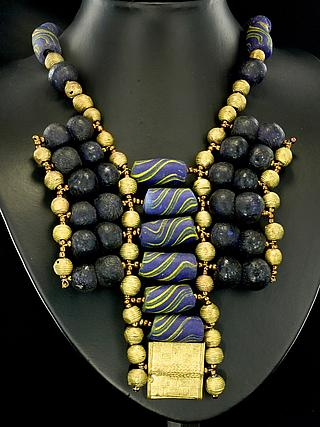 Ghanaian modern necklaces with recycled blue glass-  and brass beads 05.11.936