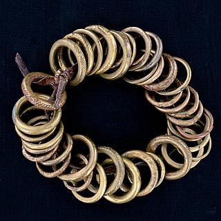 Small belt with 39 brass rings from West Africa 13.02.1419