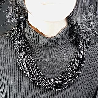 Naga small black multistrand glass bead necklace 04.04.1978