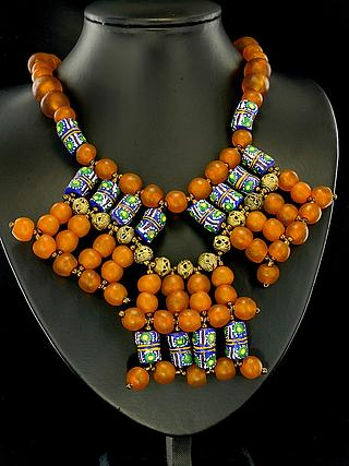 Ghanaian modern necklaces with recycled yellow glass beads 05.11.934