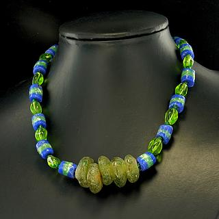 Necklace with green  and blue Ghaneen glass beads 05.11.927