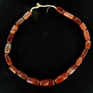 Necklace of large carnelian beads 05.04.932