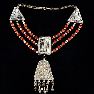 "Three strand Yemeni necklace with ""Hamsa"" hand 03.01.1341"