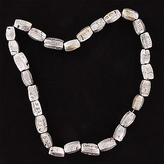Necklace with heavy oblong silver alloy beads 02.03.532