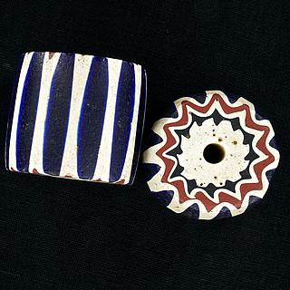 Two large chevron beads 05.01.1495