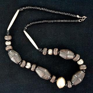 Necklace with wooden & silver beads 05.17.1530