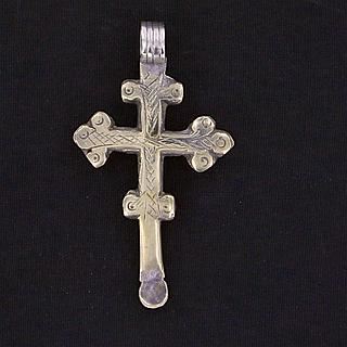 Old, used coptic cross with ear cleaner. Origine Gojam / Gonder ?. 02.06.458