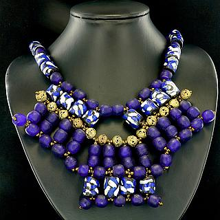 Ghanaian modern necklaces with recycled blue glass beads 05.11.935
