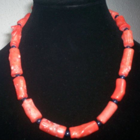 Coral Necklace with large natural coral cylinders 05.02.205