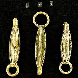 Set of three West African brass elements 13.02.1390