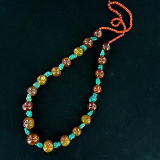 Tibetan necklace with carnelian and turquoise beads 04.02.1272