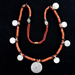 Nice Yemeni necklace with coral beads and antique silver coins 03.01.1299